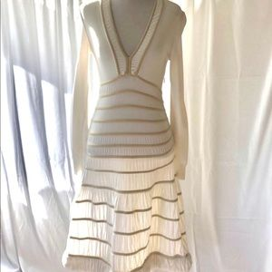 Alaia Winter White Fit and Flare Bubble Hem Dress
